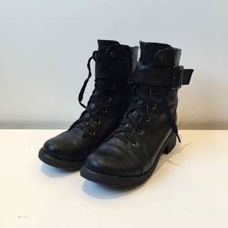 Lace Up Black Army Boots Size 6