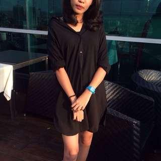 Black Shirt Loose Dress
