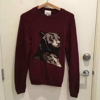 Knitted Bear Burgundy Jumper