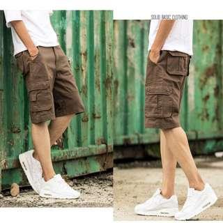 四色-側口袋設計休閒工作短褲