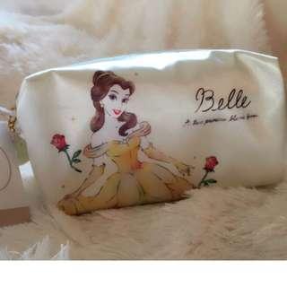 日本正版DISNEY迪士尼水彩畫貝兒公主愛麗兒墨綠公主綠精靈長髮公主愛麗絲絲質化妝包