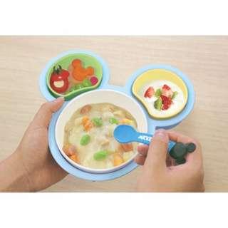 日本正版DISNEY迪士尼米奇米妮嬰幼兒童 安全餐盤學習碗叉子湯匙組