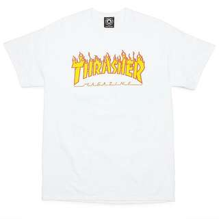 (SOLD)thrasher Flame Mag Tee White