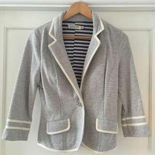 Grey Blazer With White Edging
