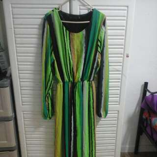 Big. Size Green Long Sleeve Dress