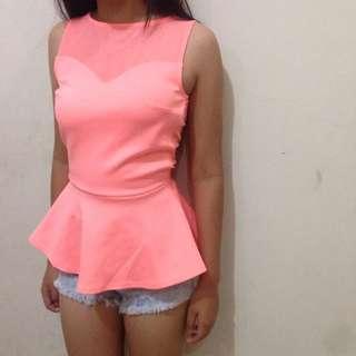H&M pink peplum Top