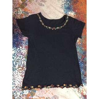 Embroidered Navy Blue Top