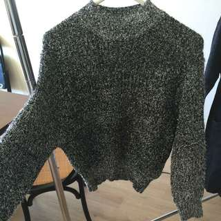 high neck sparkling knit top