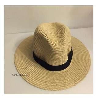 夏天必備 寬帽簷 編織草帽 遮陽帽 防曬帽 海灘 出遊 米 現貨