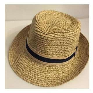 夏天必備 彩條織帶 小卷編編織草帽 遮陽帽 防曬 海灘 出遊 現貨