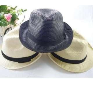夏天必備 小卷邊短帽簷 編織帽 遮陽 防曬 海灘出遊 百搭小禮帽 爵士帽 現貨