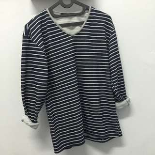 vneck stripped sweater