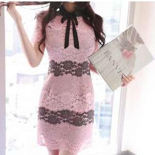 韓版新款蕾絲連身裙 領口蝴蝶結連衣裙 撞色蕾絲洋裝 蕾絲 T58787#