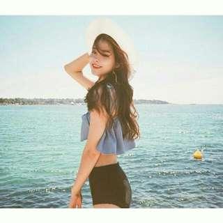 韓版 荷葉邊  夏日風 平口 綁帶 比基尼 兩件式 顯瘦 泳衣