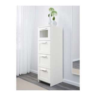 IKEA BRIMNES Chest of 4 drawers, white, frosted glass, storage