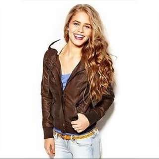 Garage Brown Leather Jacket