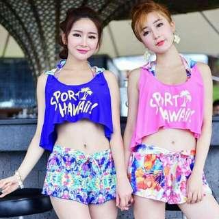 👙韓版 比基尼 碎花 罩衫 短褲 四件式 小清新 性感 顯瘦 泳衣