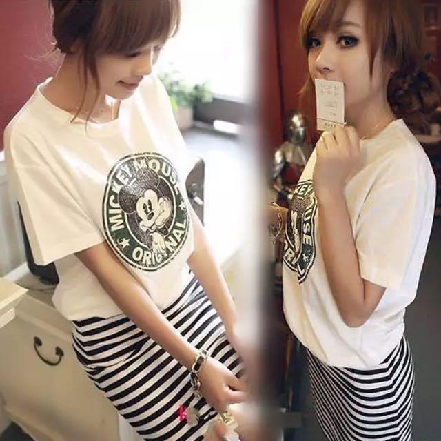 韓版新款氣質甜美包臀打底條紋拼接短袖米奇連衣裙子