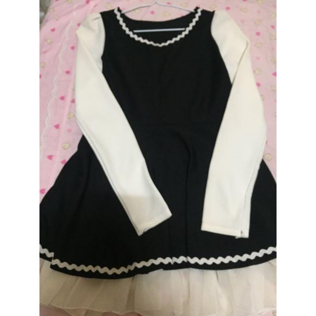 黑白色氣質洋裝👗