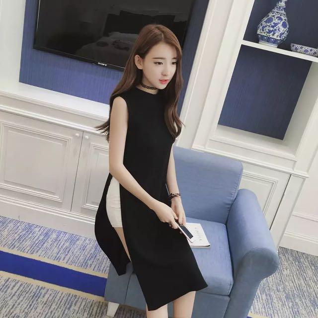 無袖性感開衩長裙