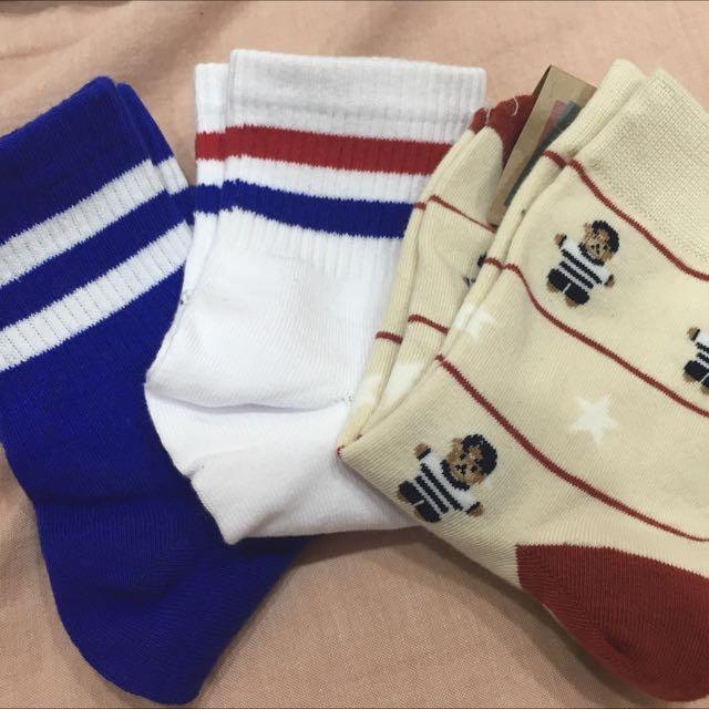 韓國 條紋白襪、藍襪 小熊襪