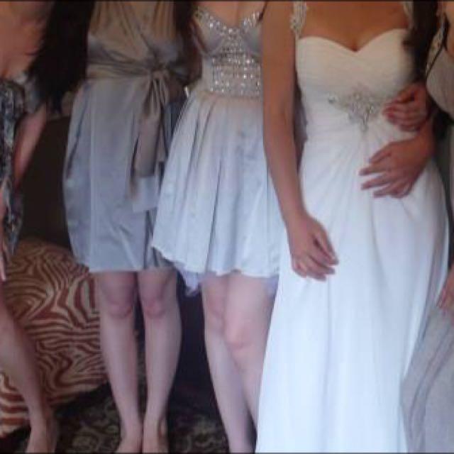 灰色 伴娘服 禮服 洋裝