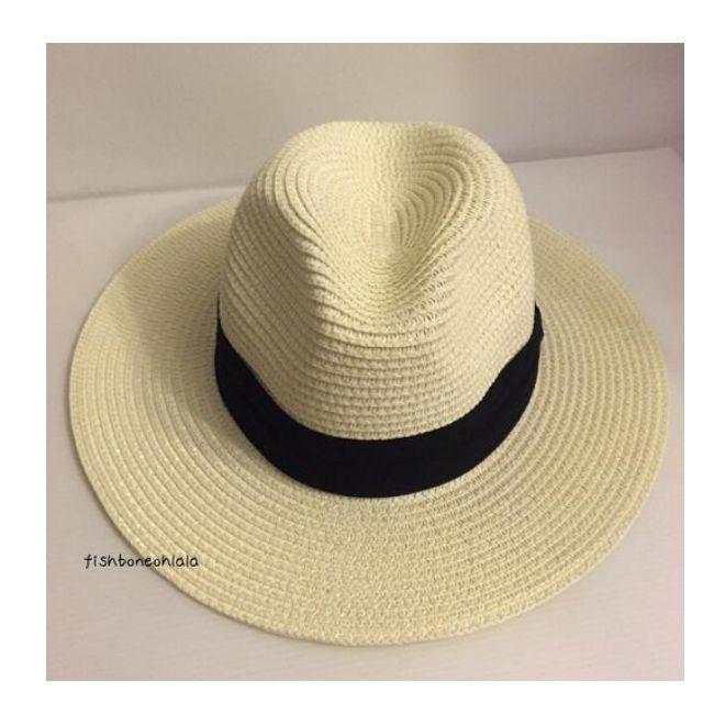 夏天必備 折帶 寬帽簷 編織草帽 遮陽 防曬 海灘 奶白 現貨