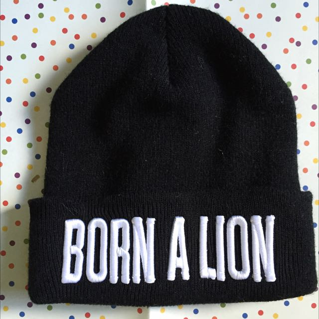 *PRICE DROP!* Born A Lion Black Beanie With Embroidered Writing! Winter Essential
