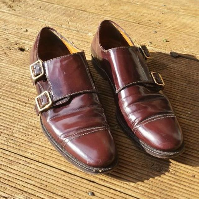 BURBERRY Leather Monk Strap Oxford Shoes