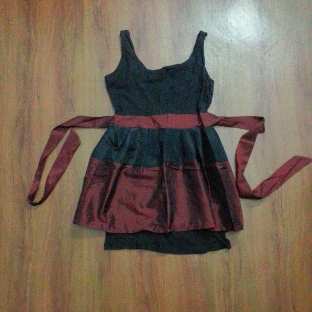 Dress Black Maroon