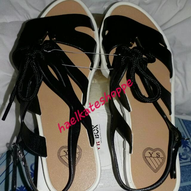 flats sandals w/core black