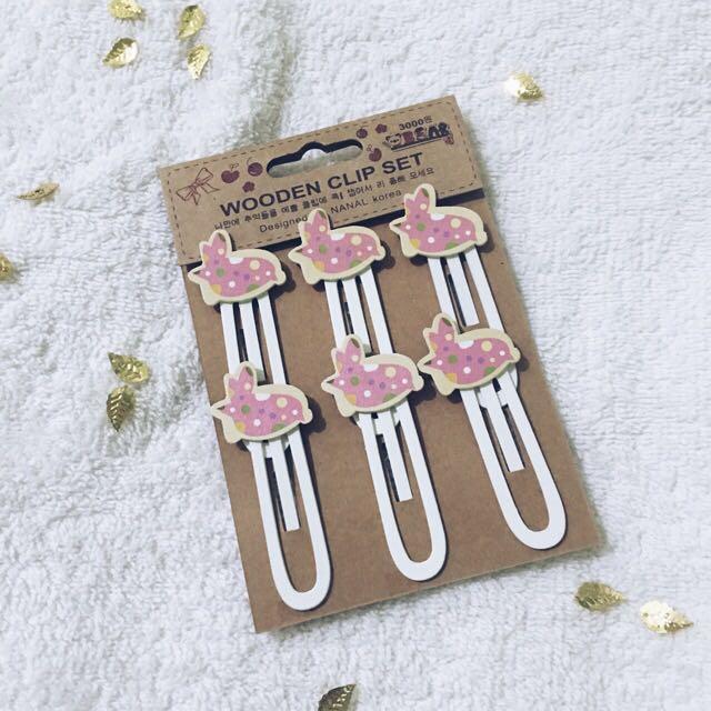 Kawaii Wooden Clip Set