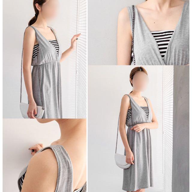 ★MIUSTAR 休閒拼接平口橫條假兩件棉質洋裝