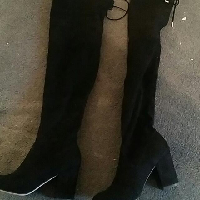 Over The Knee  Black Boots - ON HOLD
