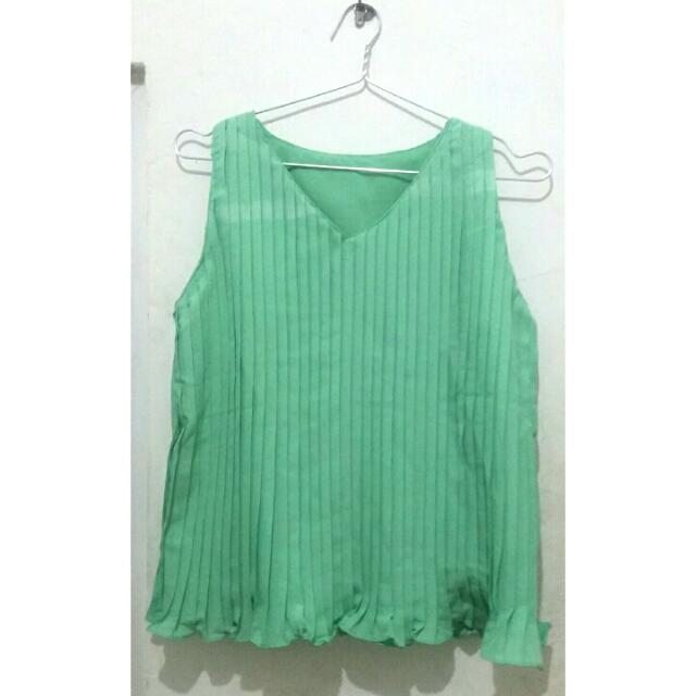 Pleated Green Top