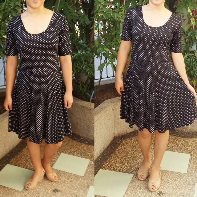 Skater Dress (Black Polka Dots)