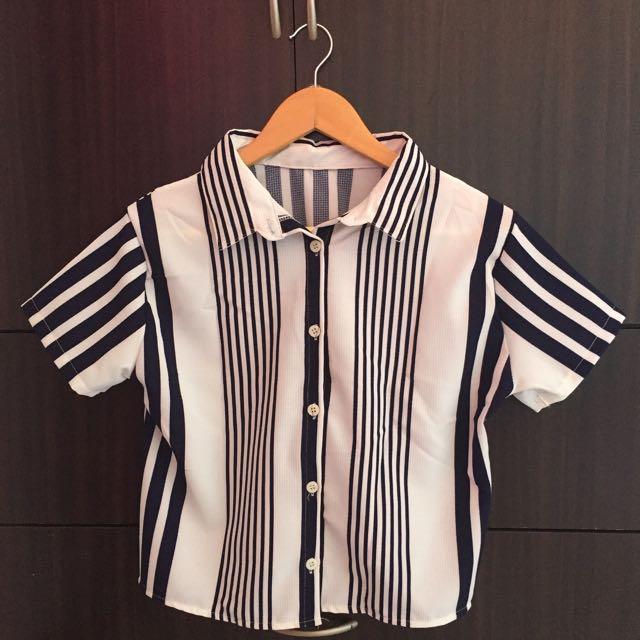 Stripe Semi Crop Top
