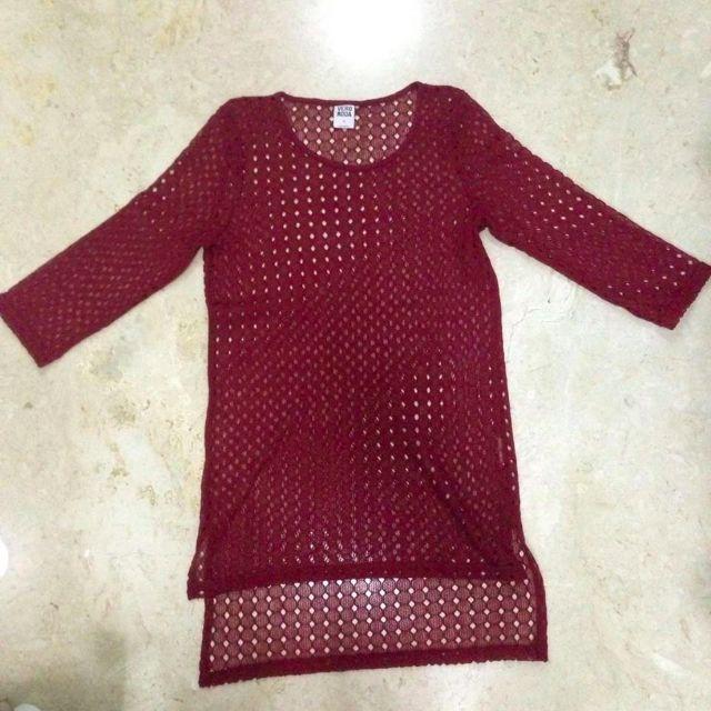 VERO MODA Knit Long Blouse / Maroon Top