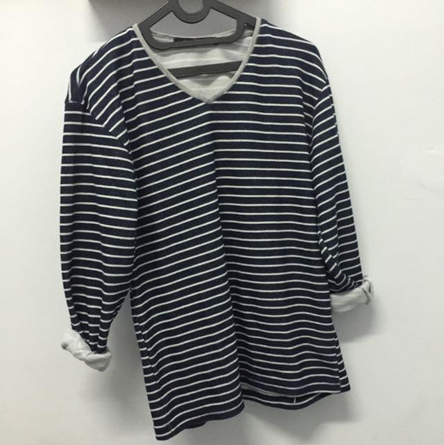 vneck stripped sweater