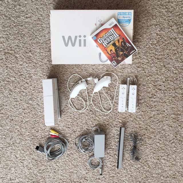 Wii System + All Cables + 2 Controllers + 1 Game *GREAT DEAL*