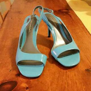 Baby Blue Open Toe Kitten Heels