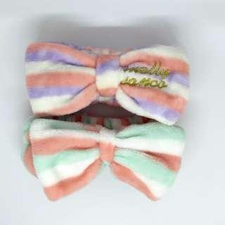 🚚 粉嫩色蝴蝶結毛絨髮帶