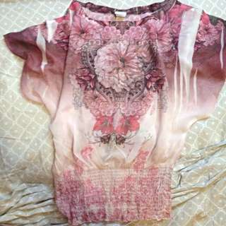 Flowy Sheer Pink Floral Top