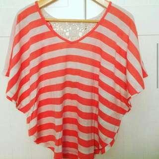 Peach Stripes Batwing Top