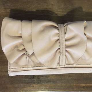 Pale Pink Clutch With Silver Chain Strap