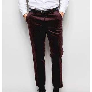 34W/32L Burgundy Velvet Dress Pants