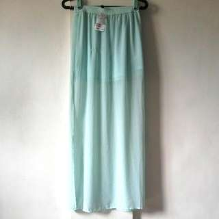 H&M Mint Green Maxi Skirt With Side Slits
