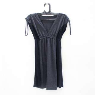 V-Neck Dress Abu-Abu