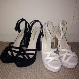 Strappy Black/white Heels