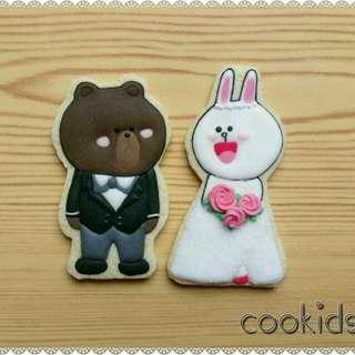 Cookids手作烘焙 熊大兔兔結婚篇 婚禮小物糖霜餅乾